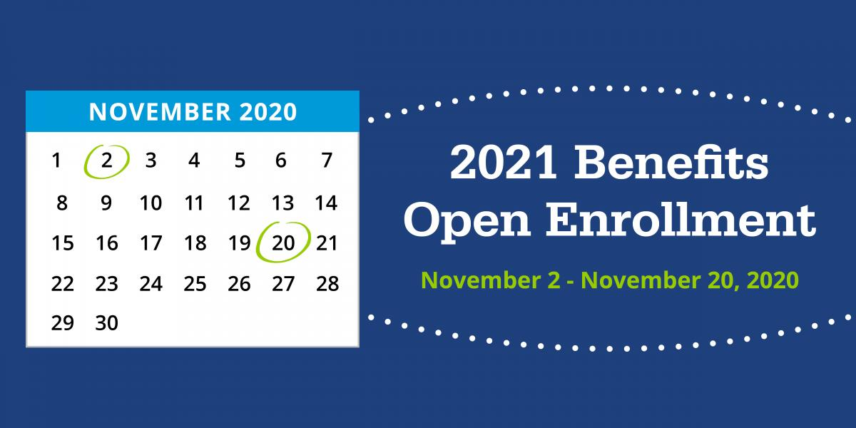 November calendar with open enrollment dates circled