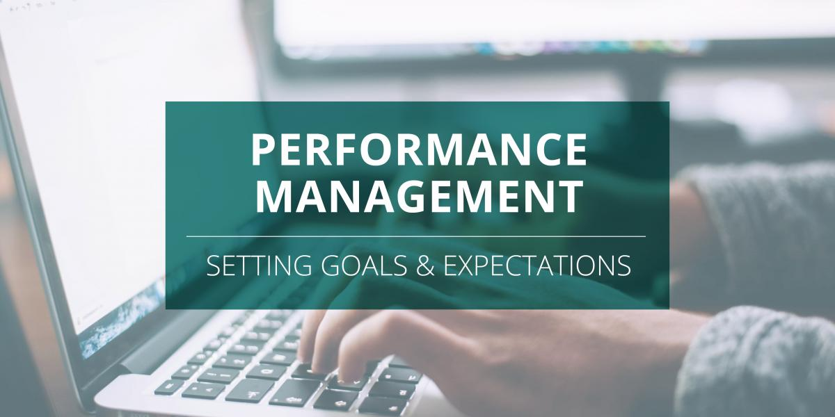 Hands typing on a laptop. Setting goals for Performance Management