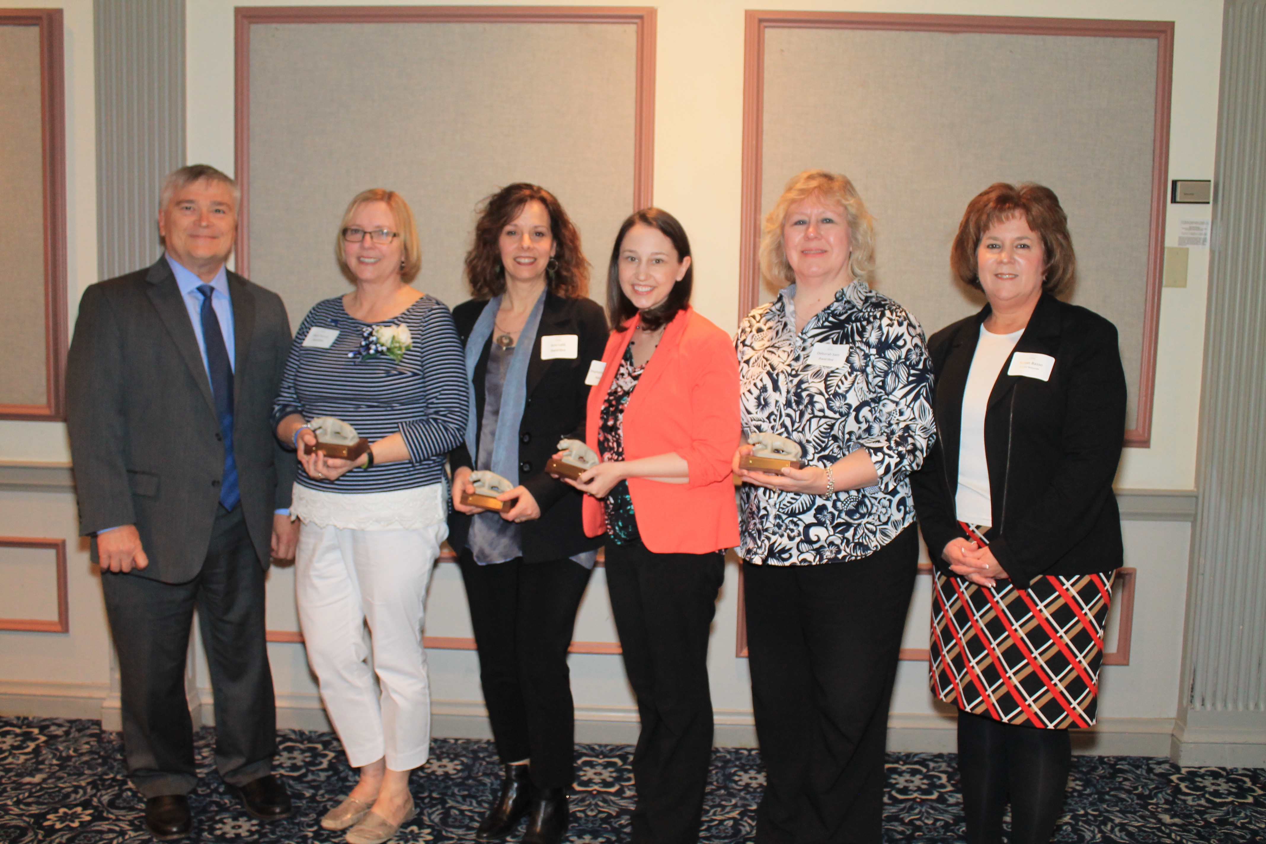2015 Award recipients with Susan Basso and President Barron: Caolyn Saona, Karen
